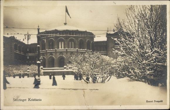 Ak Oslo Norwegen, Stortinget Kristiania, Blick auf ein Gebäude