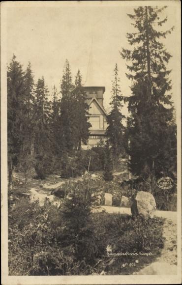 Ak Oslo Norwegen, Kristiania, Blick auf Holmenkollens Kapel