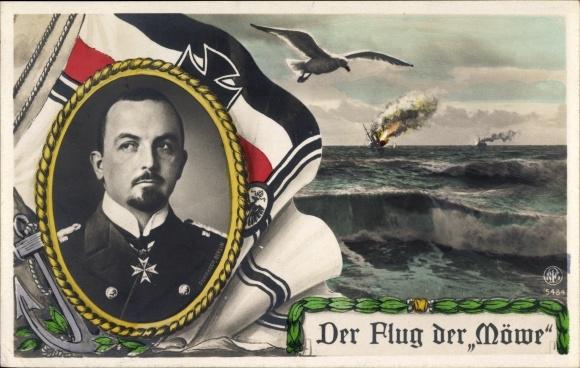 Ak Flug der Möwe, Korvettenkapitän Nikolaus Graf zu Dohna Schlodien, SMS Möve 0