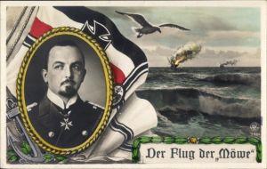 Ak Flug der Möwe, Korvettenkapitän Nikolaus Graf zu Dohna Schlodien, SMS Möve