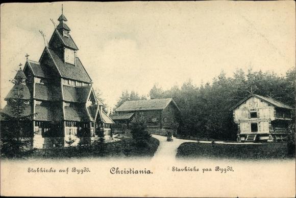 Ak Christiania Oslo Norwegen, Stavkircke paa Bygdö, Blick zur Stabkirche