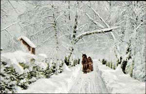 Ak Norwegen, Rimfrost, Pferdeschlitten auf einer verschneiten Straße