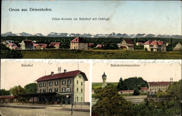 Ak Deisenhofen Oberhaching in Oberbayern, Villenkolonie, Bahnhof, Bahnhofsrestauration