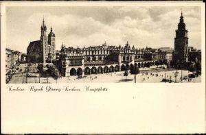 Ak Kraków Krakau Polen, Blick auf den Hauptplatz, Kirche, Rynek Gtowny