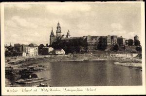 Ak Kraków Krakau Polen, Blick zum Königsschloss Wawel