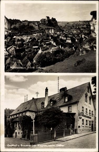 Ak Pottenstein im Kreis Bayreuth Oberfranken, Gasthof und Brauerei Leo Wagner, Panorama vom Ort