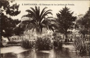 Ak Santander Kantabrien Spanien, El Estanque de los Jardines de Pereda