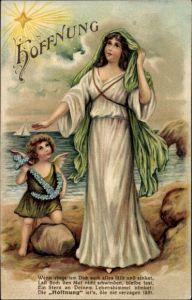 Präge Litho Hoffnung, Allegorie, Engel, Anker, Stern