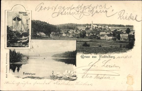 Ak Fichtelberg im Fichtelgebirge Oberfranken Bayern, Fichtelsee, Ochsenkopfgipfel, Stadt