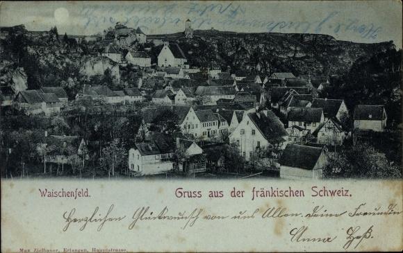 Mondschein Ak Waischenfeld in der Fränkischen Schweiz Bayern, Stadtpanorama