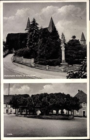 Ak Effeltrich in Bayern, Blick auf die historische Kirche, Linde