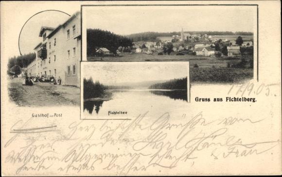 Ak Fichtelberg im Fichtelgebirge Oberfranken Bayern, Gasthof zur Post, Fichtelsee, Panorama vom Ort