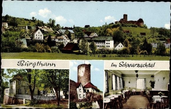 Ak Burgthann in Bayern, Blick auf den Ort, Turm, Gasthof zum Bahnhof von E. Hiltner, Inneres