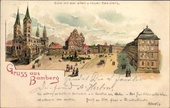 Litho Bamberg an der Regnitz Oberfranken, Dom mit der alten und neuen Residenz
