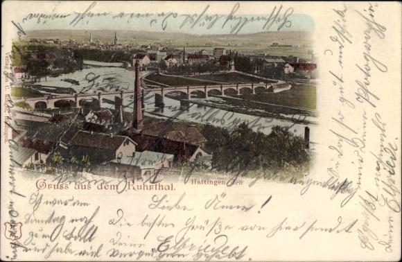 Ak Hattingen im Ennepe Ruhr Kreis, Gesamtansicht von Stadt und Ruhrtal, Brücke, Fabrik