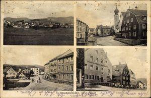 Ak Ruhmannsfelden in Niederbayern, Kirche, Brauerei und Gasthof zur Post, Inh. Amberger, Straßen