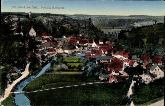 Ak Waischenfeld in der Fränkischen Schweiz Bayern, Blick auf Ortschaft aus der Vogelschau
