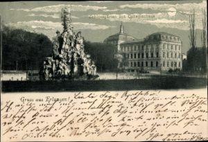 Mondschein Ak Erlangen in Mittelfranken Bayern, Partie am Schlossgarten mit Kollegienhaus