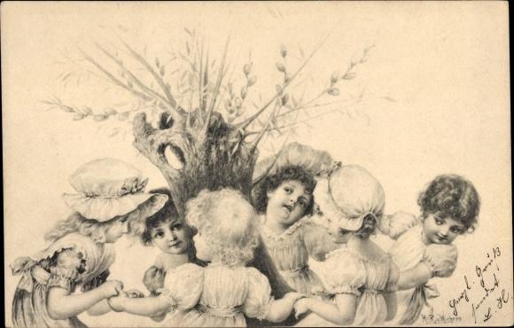 Künstler Ak Kinder beim Ringelreihen um einen Weidenbaum