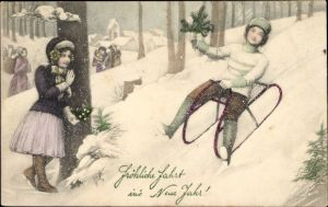 Ak Glückwunsch Neujahr, Schlittenfahrt, Wintersport, Munk Nr 5140