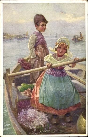 Künstler Ak Höger, R.A., Niederlande, Kinder in einem Ruderboot, Munk Nr 701