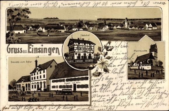 Litho Ulm an der Donau Baden Württemberg, Einsingen, Brauerei zum Adler, Pfarrkirche, Panorama