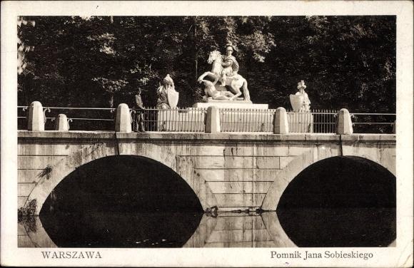 Ak Warszawa Warschau Polen, Pomnik Jana Sobieskiego, Reiterdenkmal, Brücke