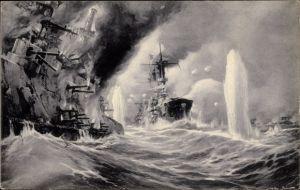 Künstler Ak Stöwer, Willy, Deutsche Kriegsschiffe, Vernichtung russischer Kriegsschiffe, Seeschlacht