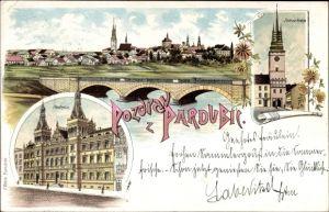 Litho Pardubice Pardubitz Stadt, Radnice, Rathaus, Zelena brana, Viadukt