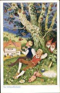 Künstler Ak Baumgarten, Fritz, Im Schlaraffenland, Jungen unter einem Baum, Schweine, Brezeln,Zwerge