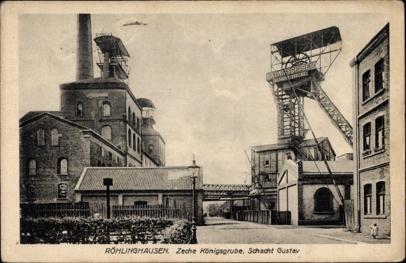 Ak Röhlinghausen Herne im Ruhrgebiet Nordrhein Westfalen, Zeche Königsgrube, Schacht Gustav