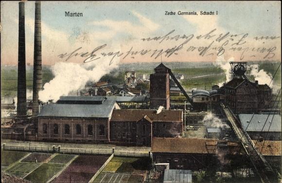 Ak Marten Dortmund Nordrhein Westfalen, Zeche Germania, Schacht I.