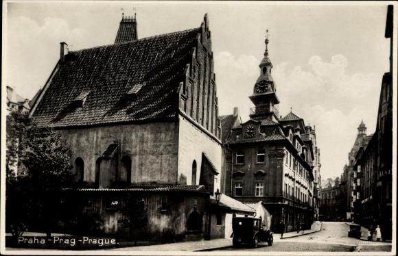 Ak Praha Prag, Staronova synagoga a zidovska radnice, Altneu Synagoge und jüdisches Rathaus