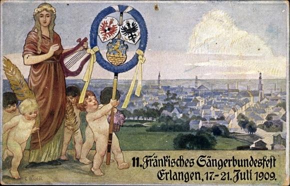 Ganzsachen Künstler Ak Erlangen in Mittelfranken Bayern, 11. Fränkisches Sängerbundesfest 1909