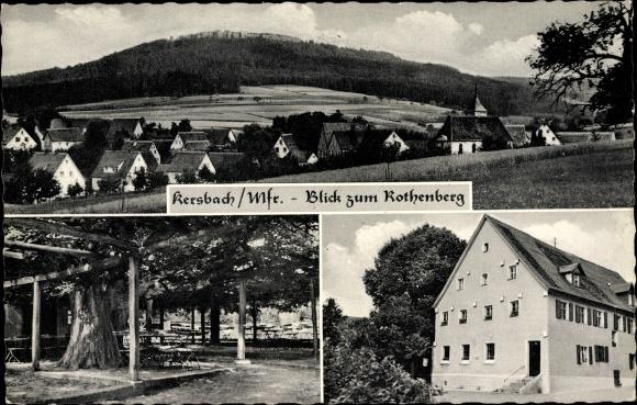 Ak Kersbach Neunkirchen am Sand in Bayern, Ortsblick, Gasthaus zur Linde, Besitzer Wölfel-Vogel