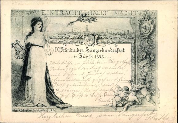 Künstler Ak Fürth in Mittelfranken Bayern, IX. Fränkisches Sängerbundesfest 1898