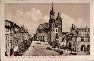Ak Kraków Krakau Polen, Glowny Rynek z kosciolem Panny Maryi, Hauptring, Marienkirche