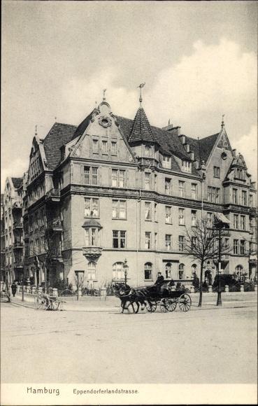 Ak Hamburg Nord Eppendorf, Eppendorfer Landstraße, Eckhaus, Pferdekutsche