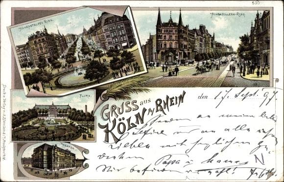 Litho Köln am Rhein, Hohenstaufen Ring, Hohenzollern Ring, Flora, Theater