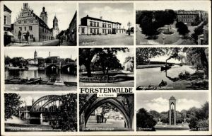 Ak Fürstenwalde an der Spree, Bahnhof, Hafen, Eisenbahnstraße, Kaiser Wilhelm Brücke, Domkirche