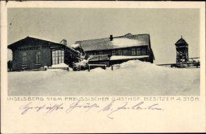 Ak Brotterode Trusetal in Thüringen, Inselsberg, Preussischer Gasthof, Besitzer A. Stör, Winter