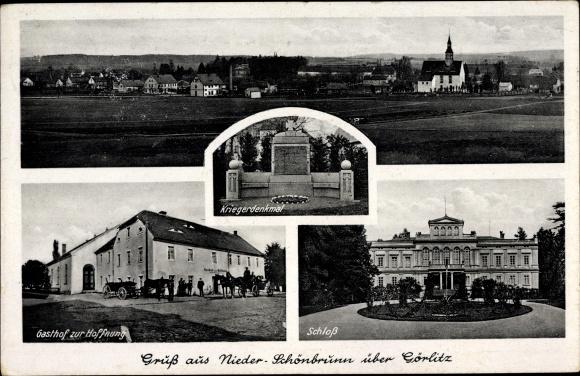 Ak Studniska Dolne Nieder Schönbrunn Sulików Schönberg Schlesien, Gasthof zur Hoffnung, Schloss