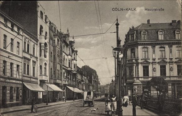 Ak Kalk Köln Nordrhein Westfalen, Blick in die Hauptstraße, Gasthaus zur schönen Aussicht, J. Bonn