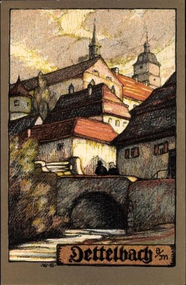 Künstler Ak Greiner, Wilhelm, Dettelbach in Bayern, Teilansicht vom Ort