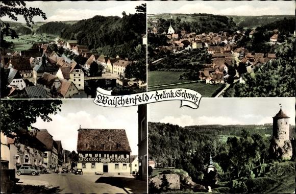 Ak Waischenfeld in der Fränkischen Schweiz Bayern, Marktplatz, Fachwerkhaus, Totalansicht
