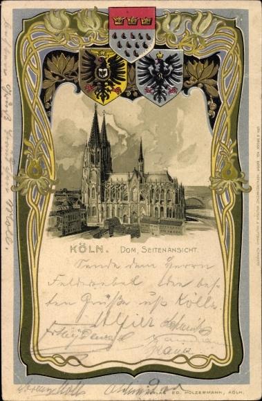 Präge Wappen Litho Köln am Rhein, Dom, Seitenansicht