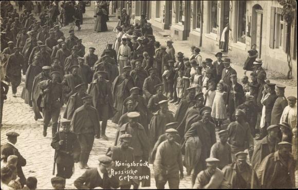 Foto Ak Königsbrück in der Oberlausitz, Russische Kriegsgefangene, I. WK