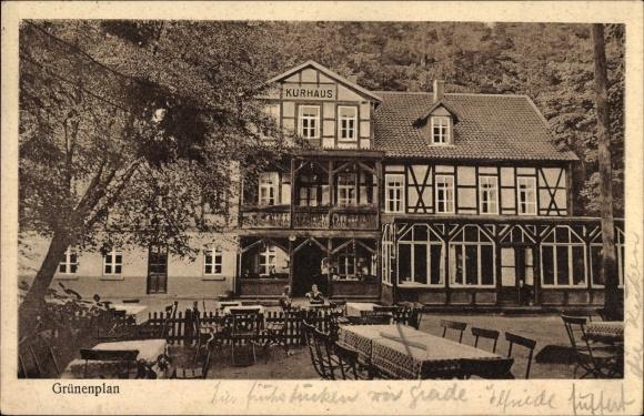 Ak Grünenplan Delligsen in Niedersachsen, Kurhaus Bad Grünenplan, Inh. Conrad Wöbbekind