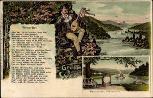 Lied Litho Hann. Münden in Niedersachsen, Weserlied, Blick ins Flusstal, Weserstein