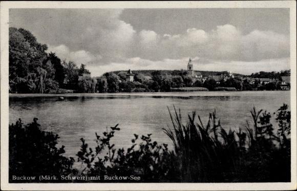 Ak Buckow in der Märkischen Schweiz, Partie am Buckow See, Ortsblick